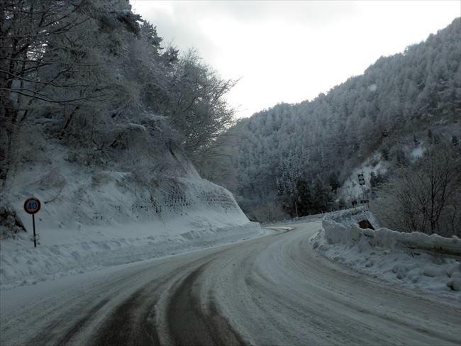 雪道(日本で撮影)