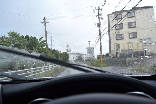 大雨の中の走行